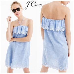 J CREW CHAMBRAY EYELET BEACH DRESS ~ S ~ SUMMER!!!